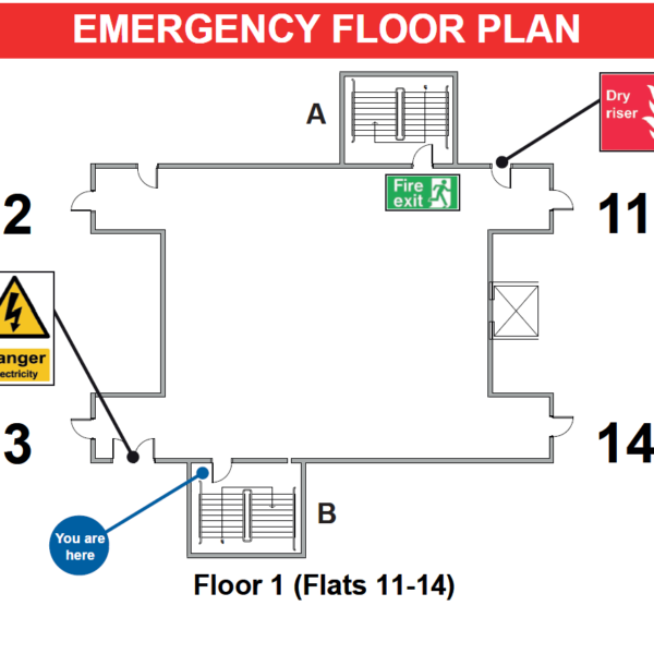 Emergency Floor Plan for Fire Evacuation