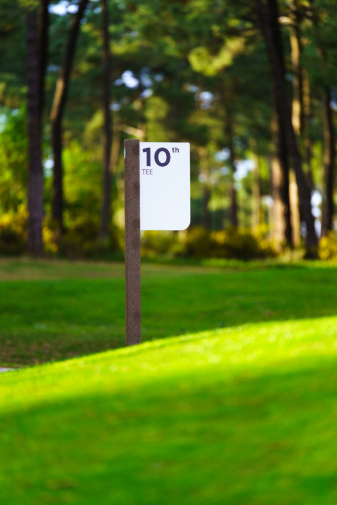 10th Tee bed marker golf course sign in ecoDURA finish