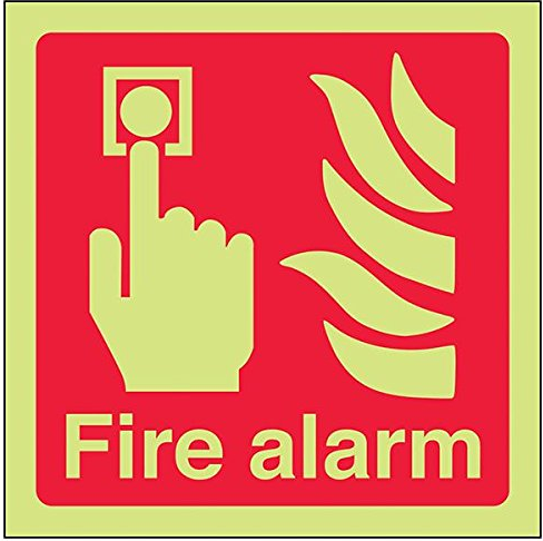 Fire Safety-Alarm-Point-Class-D-Photoluminescent-Safety-Sign-Square-150-mm-x-150
