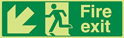 Running-Man-Diagonal-down-left-arrow-Class-D-Photoluminescent-safety-sign-450-x-150