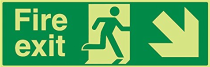 Running-Man-Diagonal-down-right-arrow-Class-D-Photoluminescent-safety-sign-450-x-150