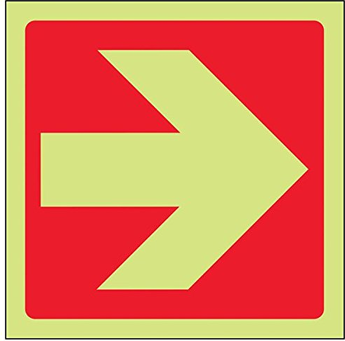 Fire Exit Red-Straight-Arrow-Class-D-Photoluminescent-Safety-Sign-Square-150-mm-x-150-mm.